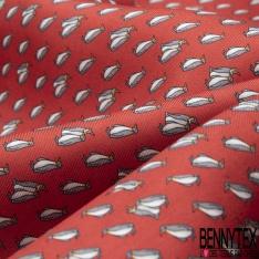 Coupon 3m Carré de Twill de Soie N°246: Motif Pingouin Fond rouge