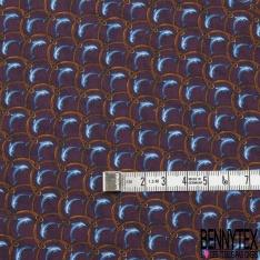 Coupon 3m Carré de Twill de Soie N°251: Motif dauphin Fond violet