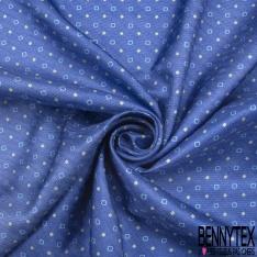 Coupon 3m Carré de Twill de Soie N°254: Motif petit carré Fond bleu