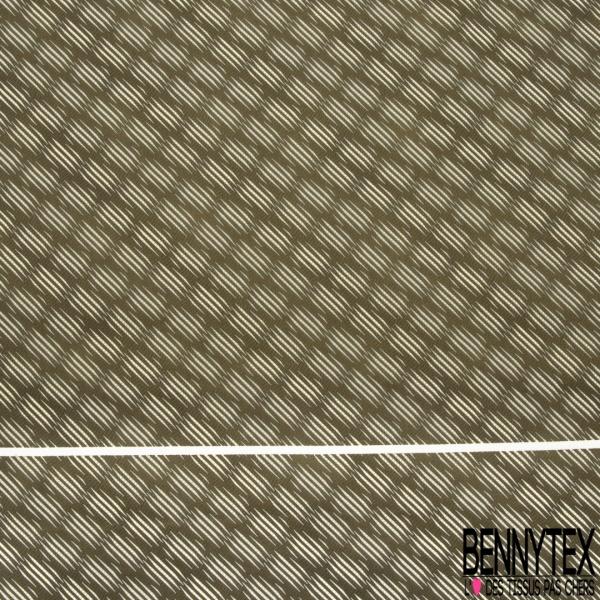 Coupon 3m Carré de Satin de Soie N°264: Motif rectangle rayé Fond kaki