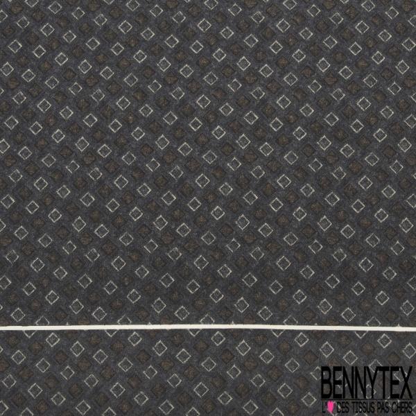 Coupon 3m Carré de Satin de Soie N°265: Motif carré Fond anthracite chiné