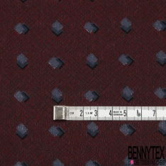 Coupon 3m Carré de Crêpe de Soie N°269: Motif carré relief Fond bordeaux