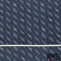Coupon 3m Carré de Crêpe de Soie N°270: Motif rectangle fantaisie Fond bleu délavé