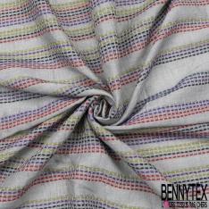 Voile de Coton Tissé Teint Imprimé Motif rayure vert bleu rouge Fond chiné