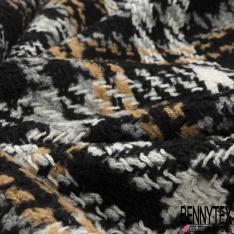 Laine Tressé Contrecollé carreaux camel ivoire gris et noire