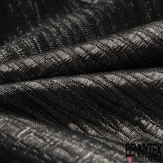 Brocart métallisé argent et noir
