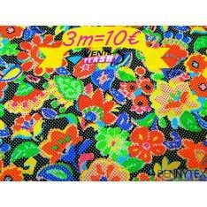 Coton imprimé fleurs rouges jaunes bleues