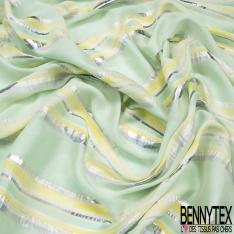 Organza de Soie Souple lamé rayure vert d'eau jaune citron écru LUREX