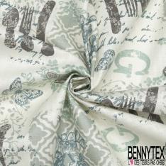 Toile Lin Souple Enduite Imprimé Shabby ton Gris fond Blanc
