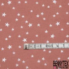 Toile Lorraine 100% coton Impression Motif étoiles Fond brique