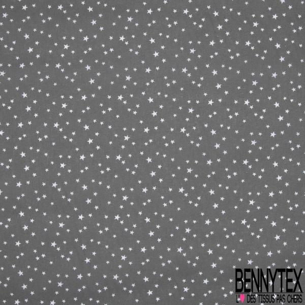 Toile Lorraine 100% coton Impression Motif étoiles Fond gris anthracite