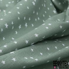 Toile Lorraine 100% coton Impression Motif étoiles Fond vert olive