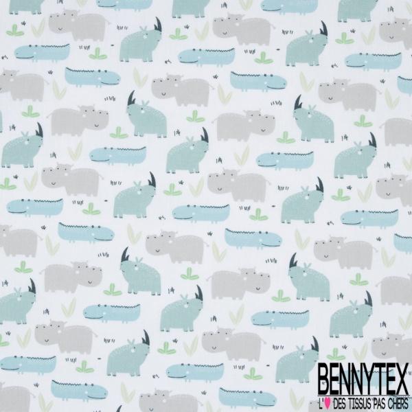 Toile Lorraine 100% coton Impression Motif animaux sauvages ton bleu et gris Fond blanc