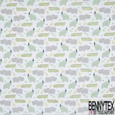 Toile Lorraine 100% coton Impression Motif animaux sauvages ton vert et gris Fond blanc
