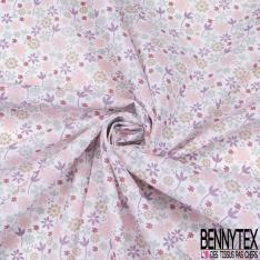 Toile Lorraine 100% coton Impression Motif fleur ton rose Fond blanc