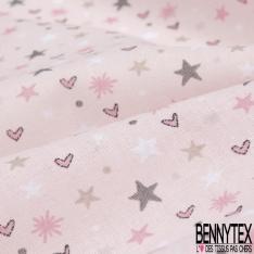 Toile Lorraine 100% coton Impression Motif étoiles et coeurs Fond rose
