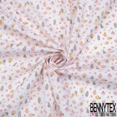 Toile Lorraine 100% coton Impression Motif champignon Fond rose pâle