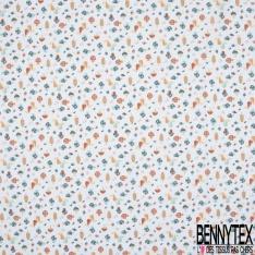 Toile Lorraine 100% coton Impression Motif champignon Fond blanc