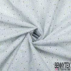 Toile Lorraine 100% coton Impression Motif pois ton bleu