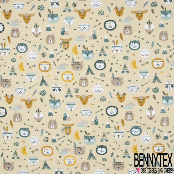 Toile Lorraine 100% coton Impression Motif têtes d'animaux thème indien Fond café au lait