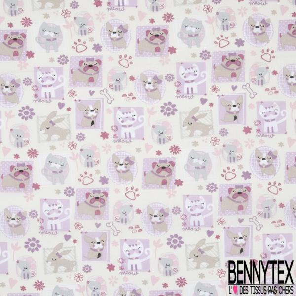 Toile Lorraine 100% coton Impression Motif tableaux chiens Fond sable