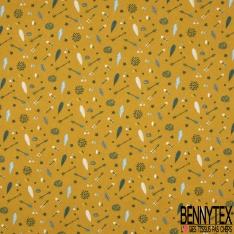 Toile Lorraine 100% coton Impression Motif flèches plumes Fond moutarde