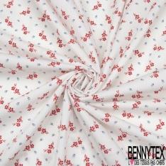 Coupon 3m Coton Elasthanne Motif Minuscule Fleur Rouge avec Tige et Marine fond Blanc