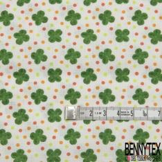 Coton imprimé Digital Motif trèfle et pois Fond beige