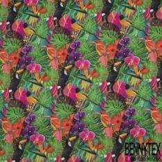 Coton imprimé Digital Motif perroquet grandes feuilles fleurs multicolore