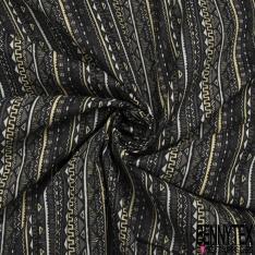 Coton imprimé Digital Motif rayure façon indienne taupe noir et jaune pâle