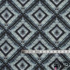 Coton imprimé Digital Motif carré effet déchiré ton bleu