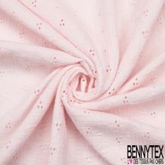 Coton Double Gaze Broderie Anglaise Florale rose clair