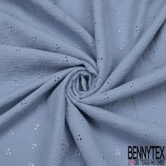 Coton Double Gaze Broderie Anglaise Florale bleu layette