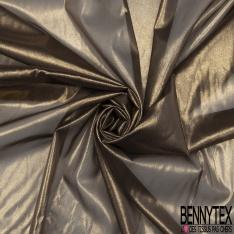 Mousseline de soie Dark Brown paillette Gold