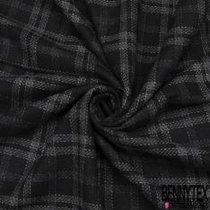 Laine Souple Tissée croisé noir carreaux gris