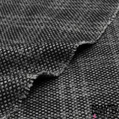 Laine carreaux et petit point noir et gris