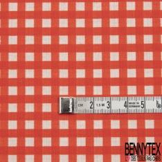 Coton imprimé Digital Motif vichy rouge corail