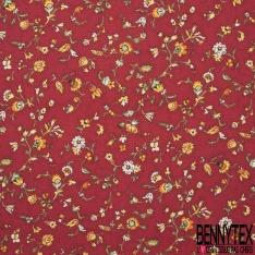 Coton imprimé Digital Motif Fleurs des Champs Rouge