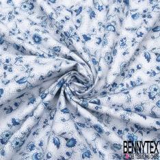 Coton imprimé Digital Motif Fleurs des Champs bleu et blanc