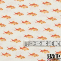 Coton imprimé Digital Motif poissons orange Fond écru