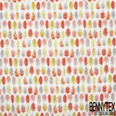 Coton imprimé Digital Motif Petite Plume Rouge Grise Vert fond Blanc