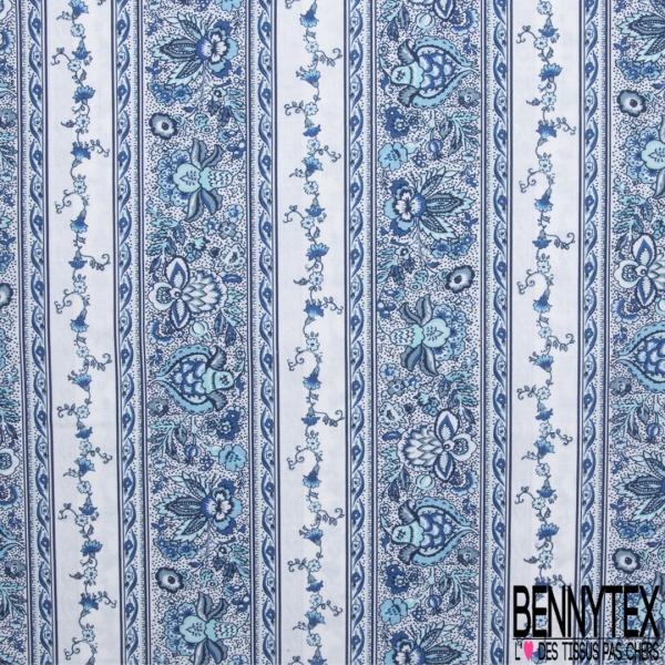 Coton imprimé Digital Motif bande de fleur japonisant bleu et blanc