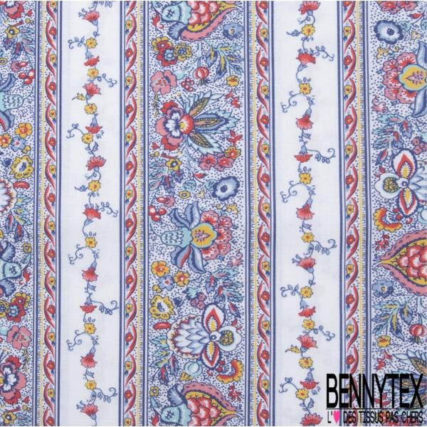 Coton imprimé Digital Motif bande de fleur japonisant multicolore Fond blanc