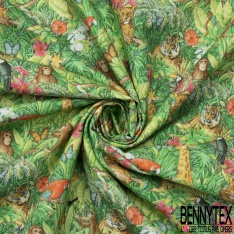 Coton imprimé Digital Motif jungle multicolore