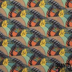 Coton imprimé Digital Motif weke multicolore
