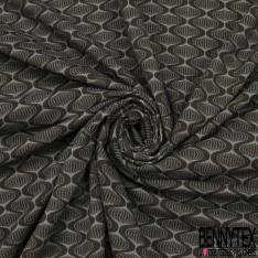 Jersey Coton Elastahanne Imprimé tourbillon fantaisie ton taupe