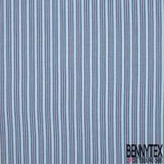Jersey Coton Elastahanne Imprimé rayure ton bleu