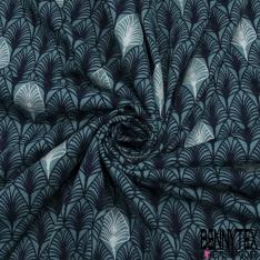 Jersey Coton Elastahanne Imprimé feuille ton bleu
