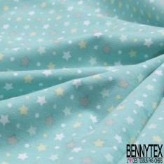 Jersey Coton Elastahanne Imprimé étoiles multicolore Fond vert d'eau