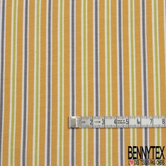 Jersey Coton Elastahanne Imprimé rayure moutarde souris et vert